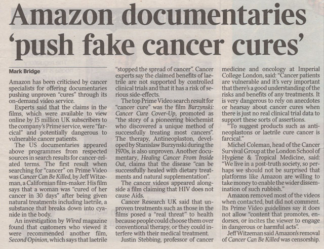 Amazon Documentaries Push Fake Cures