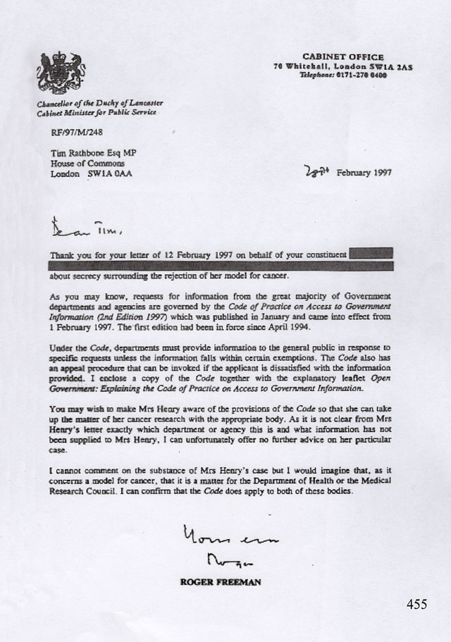 Letter from the Cabinet Office February 1997