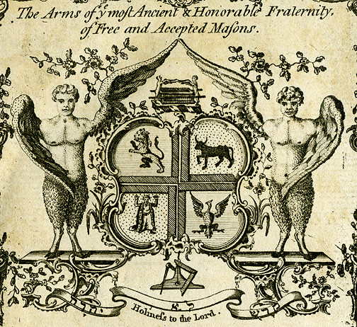 Masonic coat-of-arms used by Grand Lodge of England was a Jewish design. Lucien Wolf stated it was: 'an attempt to display heraldically the various forms of the cherubim pictured in the second vision of Ezekiel – an ox, man, lion and eagle where all belong to the highest and most mystical domain of Hebrew symbolism'